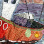 All washed up - detail of red fishing boat