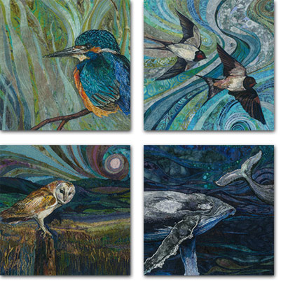 4 square cards with wildlife designs