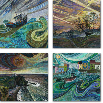 4 square cards with land and seascape designs