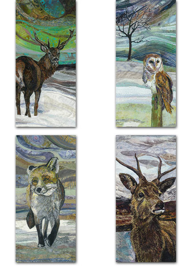 4 DL tall cards with winter designs