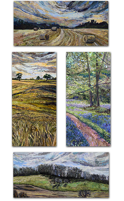 4 DL rectangular cards with British landscape designs