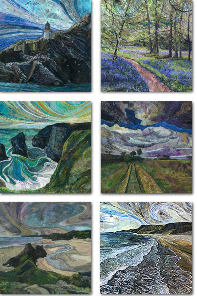 6 square cards with British landscape designs
