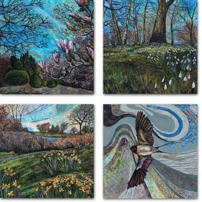 4 square cards with Springtime designs